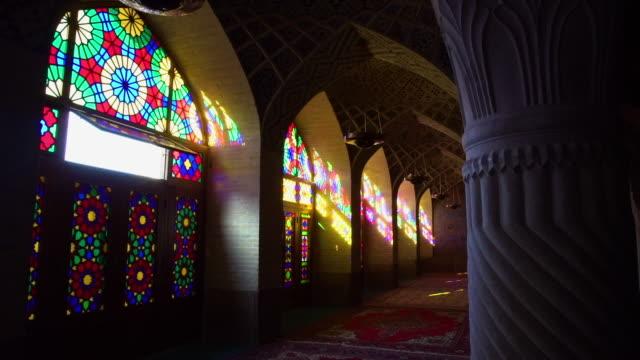 vídeos de stock, filmes e b-roll de colorful windows in a mosque - armação de janela