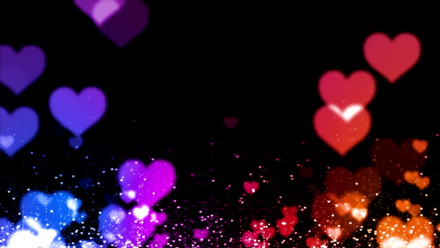 colorfull particles-hearts