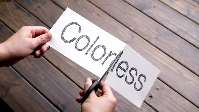 colorless to color by scissors on pattern wood plank