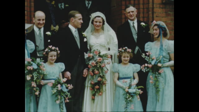 colour archive home movie footage of british home life circa 1940s showing a wedding scene. - arts culture and entertainment stock videos & royalty-free footage