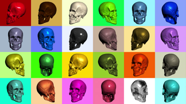 coloured skulls rotating on coloured squares - tomb stock videos & royalty-free footage
