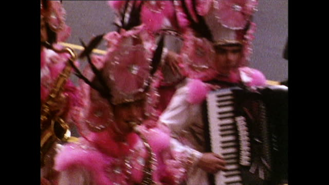 colourful bands march in fourth of july parade; 1972 - parade stock videos & royalty-free footage