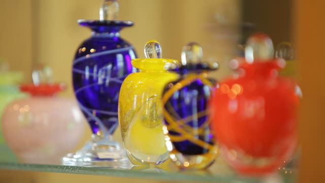 Colourful blown glass bottle