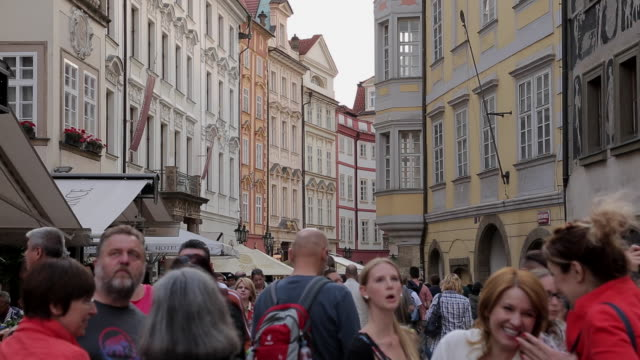colourful buildings, shops & restaurants on old town square, prague, czech republic, europe - czech culture stock videos and b-roll footage