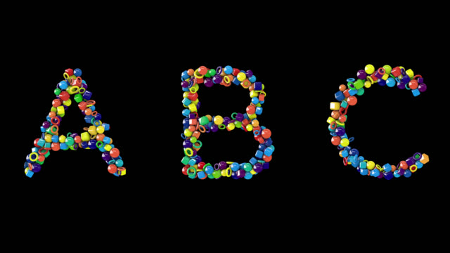 colourful candy-like alphabet uppercase - typescript stock videos & royalty-free footage