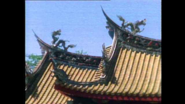 colourful chinese architecture in nagasaki, japan; 1981 - decoration stock videos & royalty-free footage