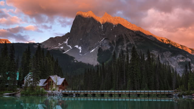 T/L Colourful clouds roll above Mount Burgess and Emerald Lake at sunset / Yoho National Park, British Columbia, Canada