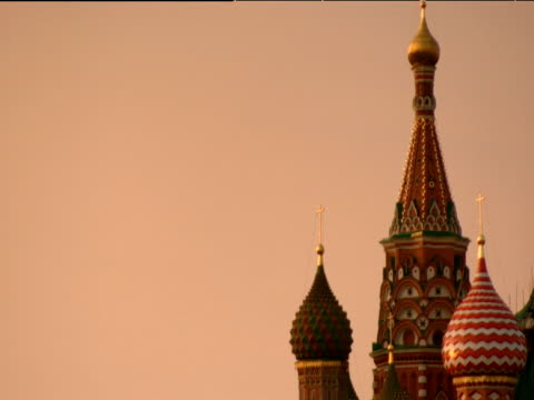 colourful cupolas of st basil's cathedral moscow - st. basil's cathedral stock videos and b-roll footage