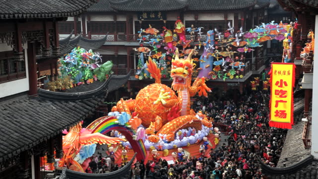 Colourful dragon statue Chinese New Year, Yuyuan Garden, Shanghai, China, Asia