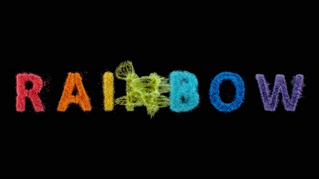 """slo mo ld colourful inscription """"rainbow"""" created by dust falling onto a surface - western script stock videos & royalty-free footage"""