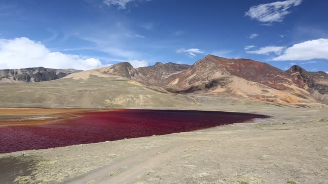 colourful lakes below the peak of chacaltaya in the bolivian andes. - bolivian andes stock videos & royalty-free footage