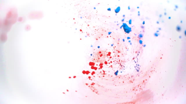 Colourful powder drops onto a spinning white background to create interesting patterns.