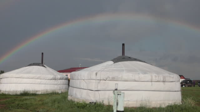 Colourful rainbow over a yurt in Central Mongolia