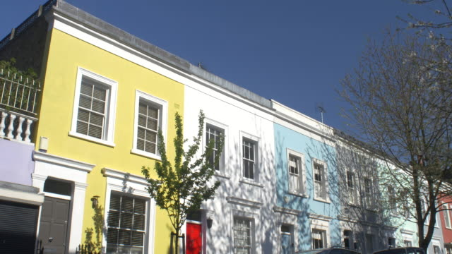 colourful townhouses in notting hill,london. - townhouse stock videos & royalty-free footage