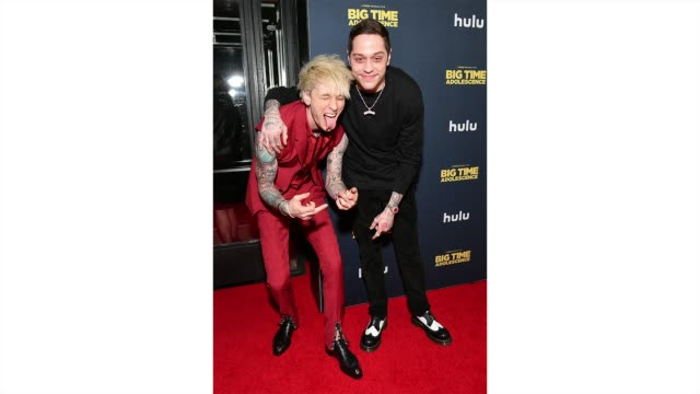 colson baker aka machine gun kelly and pete davidson attend the premiere of big time adolescence at metrograph on march 05 2020 in new york city - gif stock videos & royalty-free footage