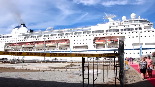 columbia cruise ship carrying 1,300 passengers docked at gili mas port in lembar, western lombok on march 10, 2020. amid fears of the coronavirus,... - moored stock videos & royalty-free footage