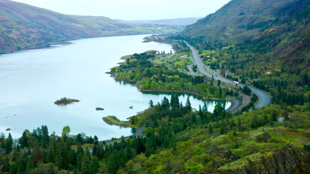columbia gorge and freeway traffic in time lapse - ravine stock videos & royalty-free footage