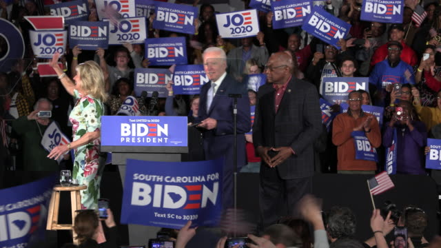 columbia, south carolina, usa: democratic nomination hopeful joe biden arrives to speak during a primary night rally at the university of south... - political rally stock videos & royalty-free footage