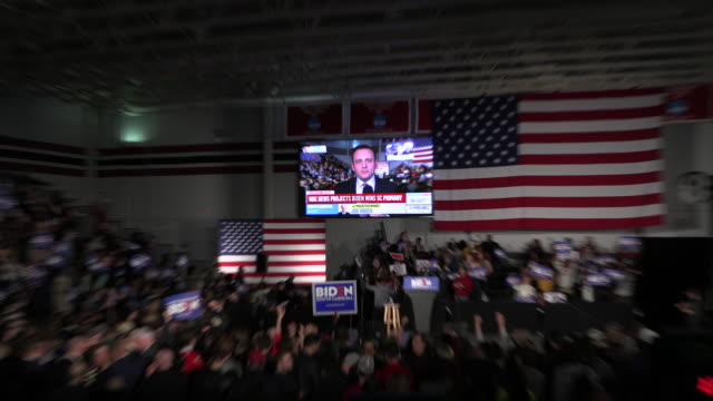 columbia, south carolina, usa: supporters celebrate after msnbc announces democratic nomination hopeful joe biden won the south carolina primary... - msnbc stock videos & royalty-free footage