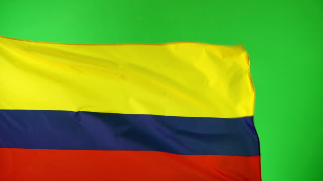 4k: columbian flag on green screen, real video, not cgi - (colombia) - colombian flag stock videos and b-roll footage