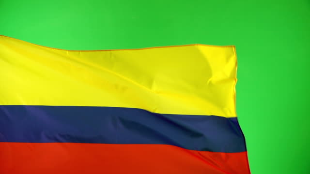 columbian flag on green screen, real video, not cgi - super slow motion (colombia) - colombian flag stock videos and b-roll footage