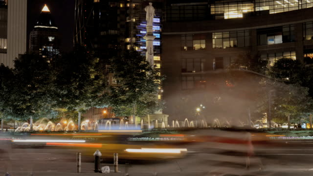 ts tl columbus circle at night with statue and fountain / new york, new york, usa - columbus circle stock videos & royalty-free footage