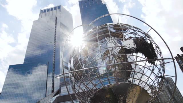 columbus circle establishing shot - new york city - summer - landmark - columbus circle stock videos & royalty-free footage