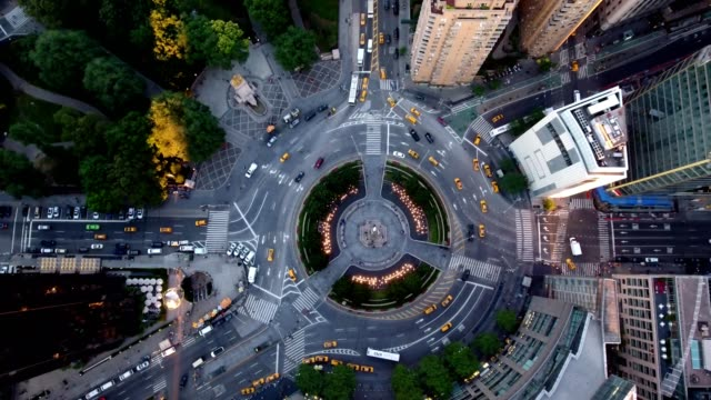 vídeos de stock e filmes b-roll de columbus circle from above - plano geral