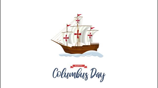vidéos et rushes de animation columbus day avec voilier et vagues. animation 4k - christopher columbus explorateur