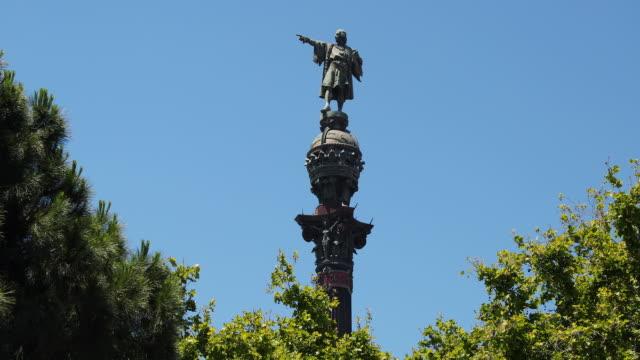 vidéos et rushes de columbus monument, barcelona, spain - christophe colomb