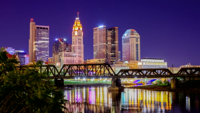 columbus, ohio skyline - ohio stock videos & royalty-free footage