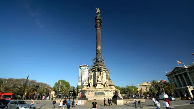 バルセロナのコロンブス像、時間経過 - クリストファー コロンブス点の映像素材/bロール