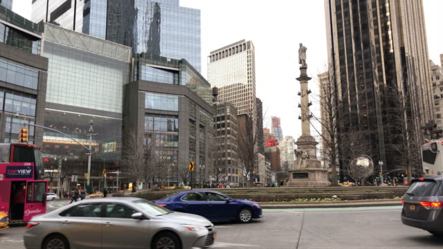 columbus tower traffic circle in new york city - columbus circle stock videos & royalty-free footage