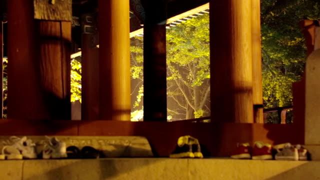 column of a gazebo at jeonju hanongmaeul village - gazebo stock videos and b-roll footage
