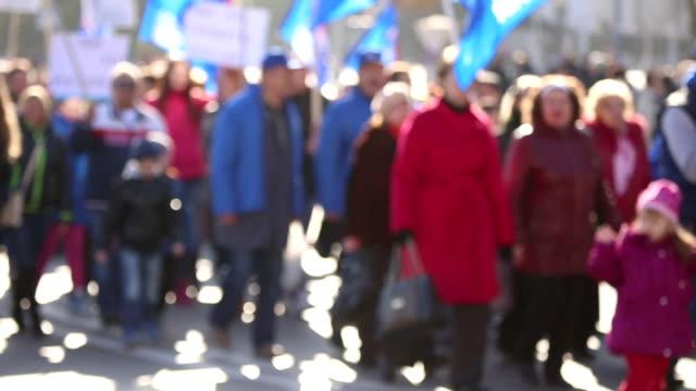 column of demonstrators