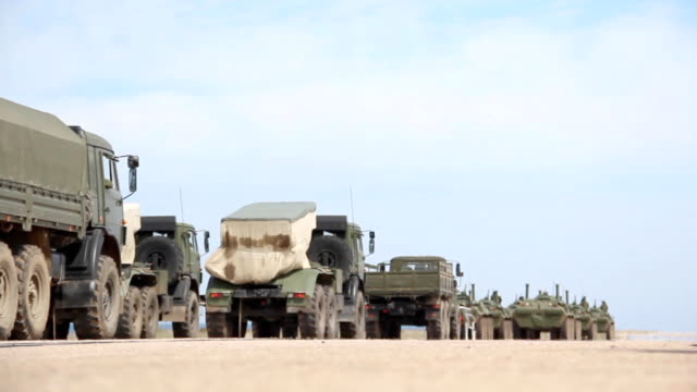 column of military equipment - military land vehicle stock videos & royalty-free footage