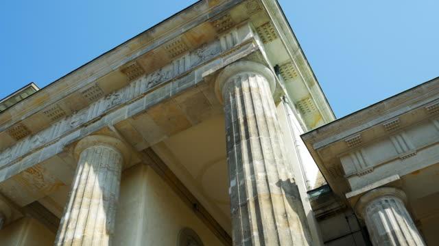 CU PAN Columns And Frieze Of The Brandenburg Gate In Berlin(4K/UHD to HD)