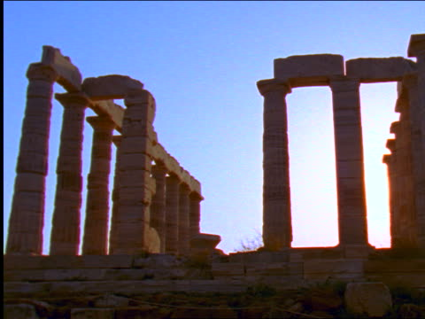 columns of temple of poseidon / cape sounion, greece - sounion stock videos and b-roll footage