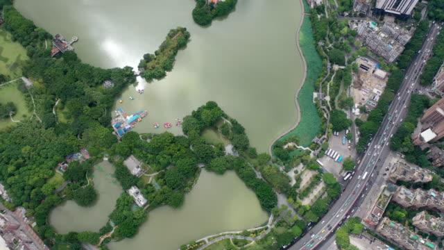 combination of garden lakes and modern urban architecture - 湿地点の映像素材/bロール