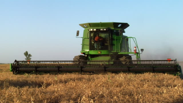 A combine cuts wheat in a field.
