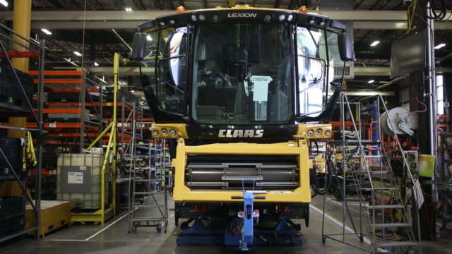 combine harvesters are assembled at claas of america inc in omaha nebraska us on wednesday june 6 2018 - agricultural equipment stock videos and b-roll footage