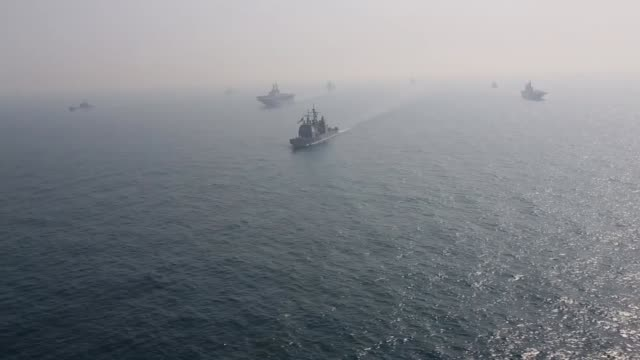 combined naval forces from the united states navy expeditionary strike group 7 and republic of korea navy sail in formation during exersise ssang... - royal navy stock videos & royalty-free footage
