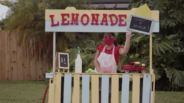 come and drink our lemonade and wear a mask! - market stall stock videos & royalty-free footage