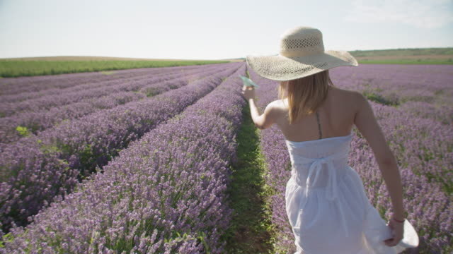 come traveling with me. slow motion of young woman tourist in the blooming lavender fields playing with a paper airplane. wanderlust during covid-19. - eco tourism stock videos & royalty-free footage
