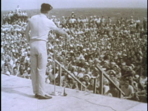 comedian bob hope entertains a crowd of soldiers us sailors at a uso show aboard the uss ticonderoga - comedian stock videos & royalty-free footage