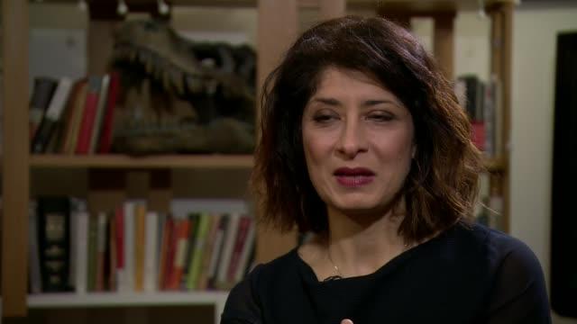 comedian shappi khorsandi talks about sexism in her industry england int shappi khorsandi setup shots with reporter / interview sot - shappi khorsandi stock videos & royalty-free footage