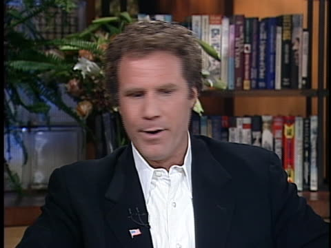 stockvideo's en b-roll-footage met comedian will ferrell discusses how much political satire saturday night live will use around newly elected president george w. bush. - satire