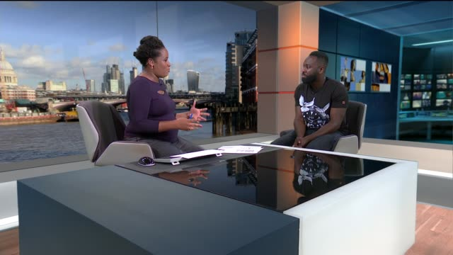 vídeos de stock, filmes e b-roll de 'britain's got talent' finalist kojo anim debuts 'taxi tour' show england london gir int kojo anim live studio interview sot - finalist