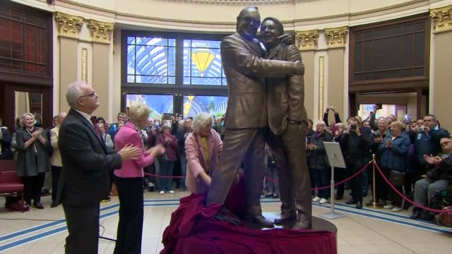 morecambe and wise statue unveiled in blackpool england lancashire blackpool winter gardens int various of statue of morecambe and wise unveiled as... - winter gardens blackpool stock videos & royalty-free footage