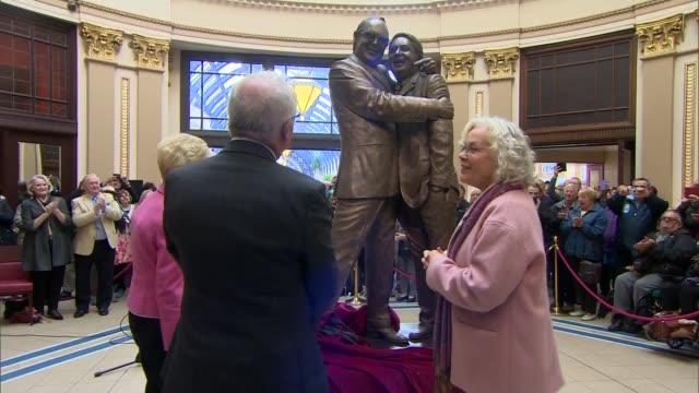 morecambe and wise statue unveiled in blackpool england lancashire blackpool winter gardens photography*** dome of building / statue under veil... - winter gardens blackpool stock videos & royalty-free footage